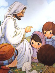 precious moments jesus and children illustration